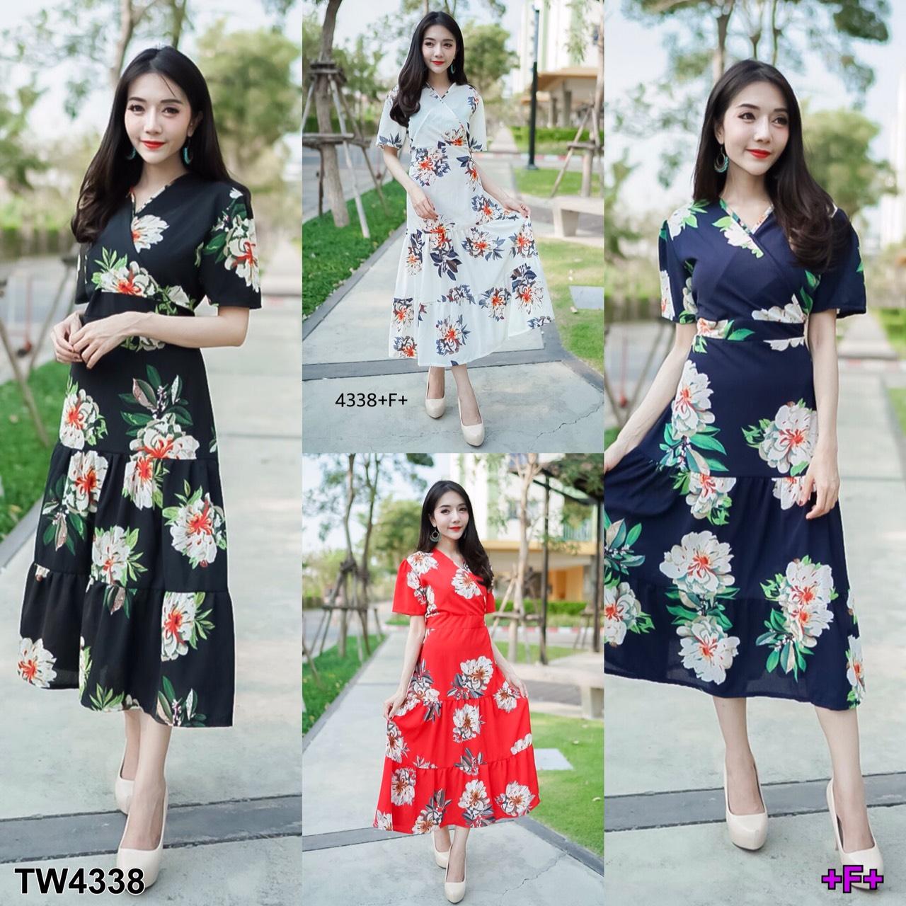 Maxi Dress แมกซี่เดรสยาว คอวี งานพิมพ์ลายดอกดอกไม้
