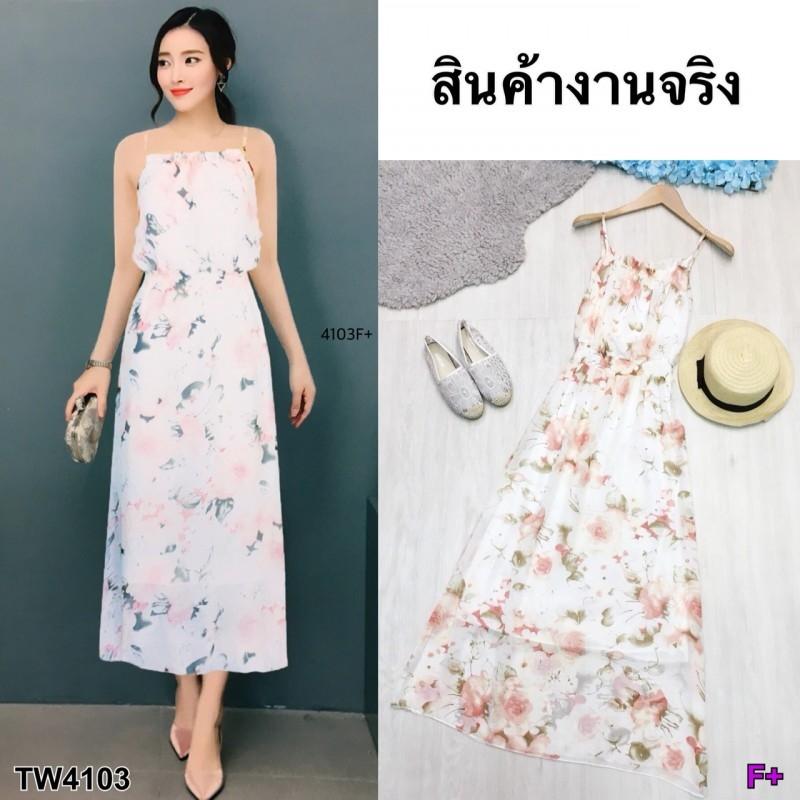 Maxi Dress สายเดี่ยวผ้าชีฟอง พิมพ์ลายดอกไม้