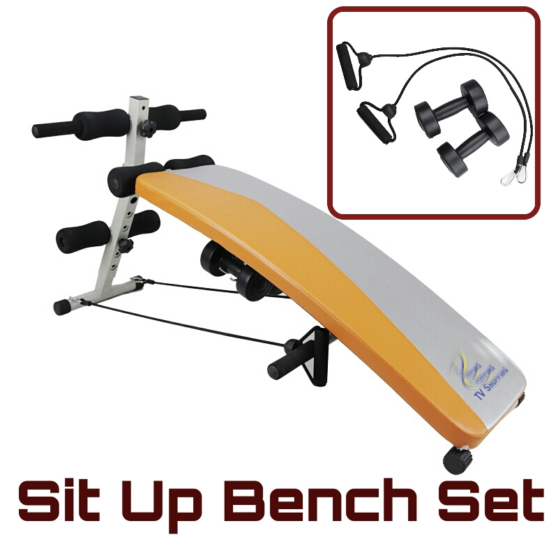 เบาะนั่งซิทอัพพร้อมสายแรงต้านและดัมเบล Fitness Sit Up Bench set