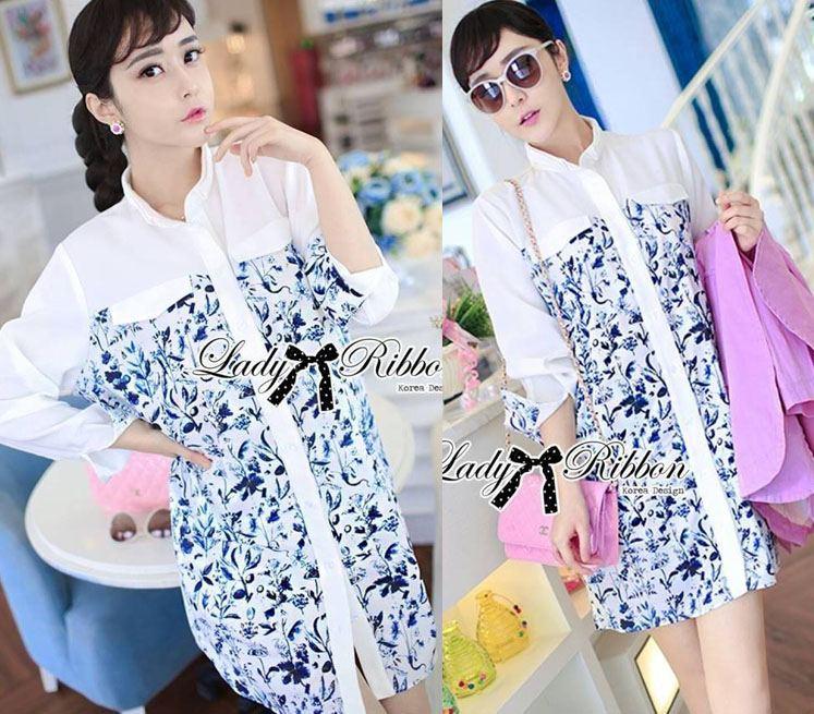 DR-LR-242 Lady Lara Summer Floral Print Shirt Dress
