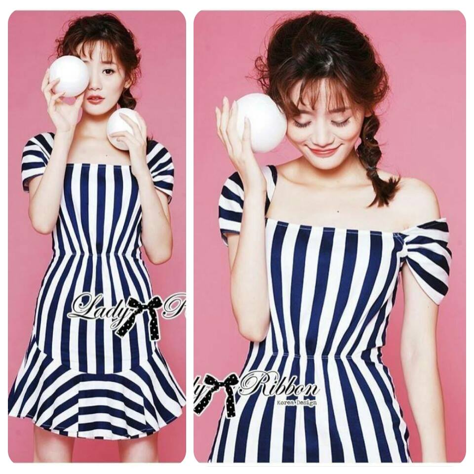 Lady Jenny '50s Style Mixed Striped Dress