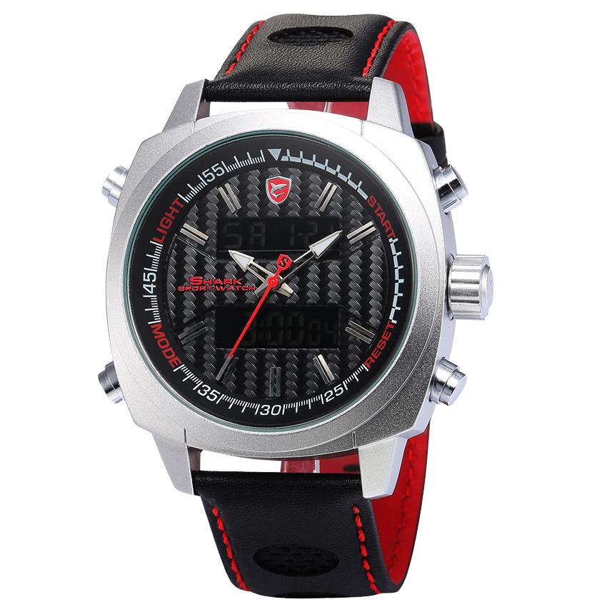 SHARK Watch นาฬิกาข้อมือแฟชั่นผู้ชาย 2 ระบบ สายข้อมือหนัง PU อย่างดี Quartz Digi-Analog เวลา-วัน-วันที่ SH492SI