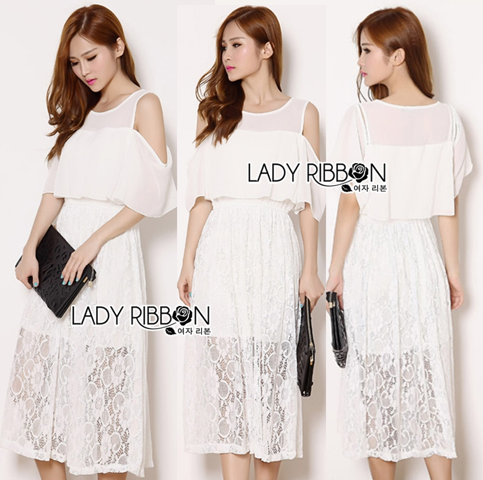 Lady Leila Casual Chic Cut-Out Chiffon and Lace Midi Dress L210-75C10