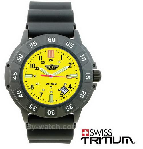 นาฬิกาแนวทหาร นาฬิกาภาคสนาม UZI Protector Swiss Tritium Yellow หน้าปัดสีเหลือง สายข้อมือยาง