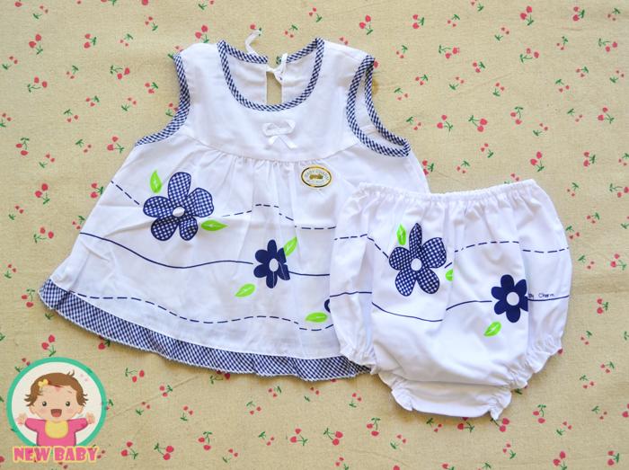 ไซส์ 0-3,3-6 เดือน ชุดผ้าป่านผูกหลัง เสื้อ กางเกงเด็กผู้หญิง - สีน้ำเงิน