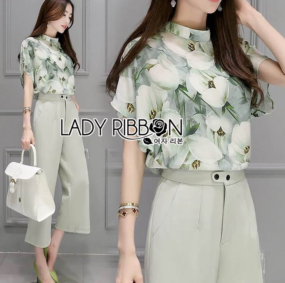Lady Anna Smart Casual Floral Printed Top and Culottes Set L259-7916