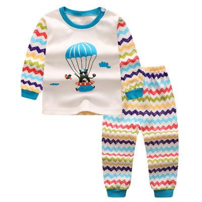 ไซส์ 73 80 เดือน ชุดนอนเด็กผ้านิ่ม สีฟ้าขาว