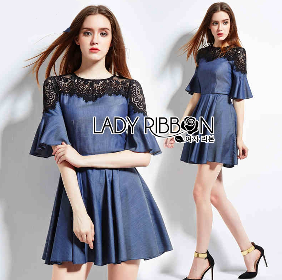 Lady Stella Smart Casual Black Lace and Denim Dress L255-79C12