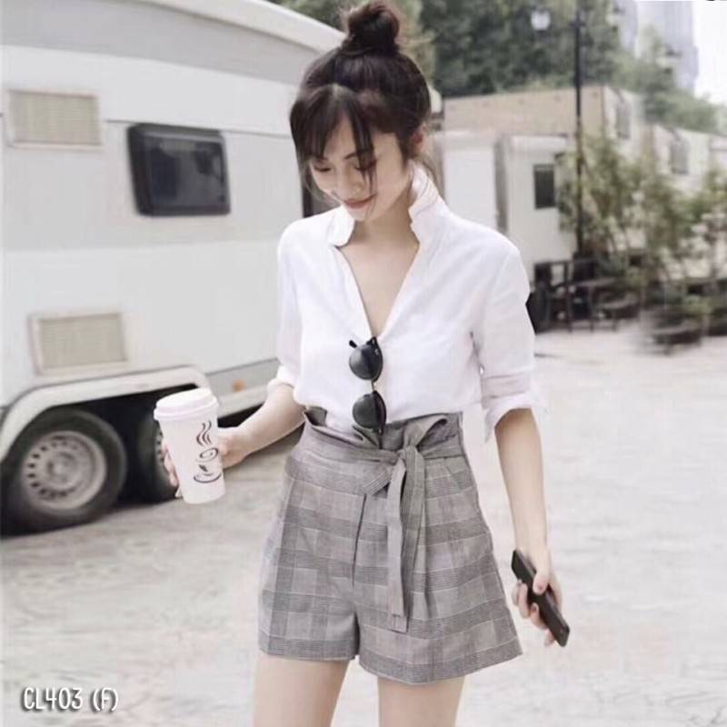 เซ็ท 2 ชิ้น เสื้อ+ กางเกงขาสั้น สุดชิค โทนสีสุภาพ เสื้อเชิ้ตแขนยาว ผ้าโฟร์เวย์เนื้อดี