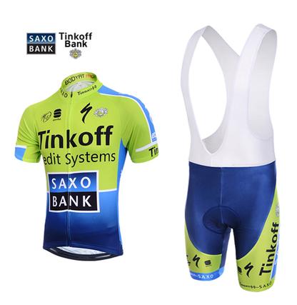 ชุดปั่นจักรยานแขนสั้นทีม TINKOFF เสื้อปั่นจักรยาน กับ กางเกงปั่นจักรยาน(แบบมีเอี่ยม)