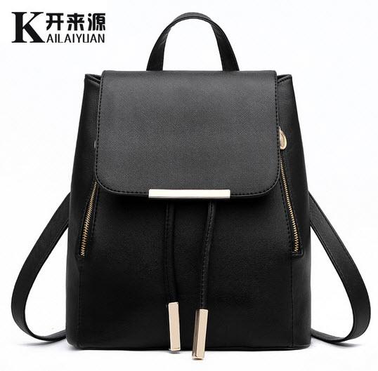 กระเป๋าเป้สะพายหลังแบบเรียบหรู เป็นหนังเรียบสีดำ