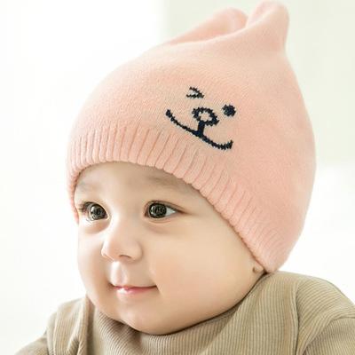 ไซส์ 3-12 เดือน หมวกเด็กเกาหลีไหมพรมนิ่ม สีชมพู