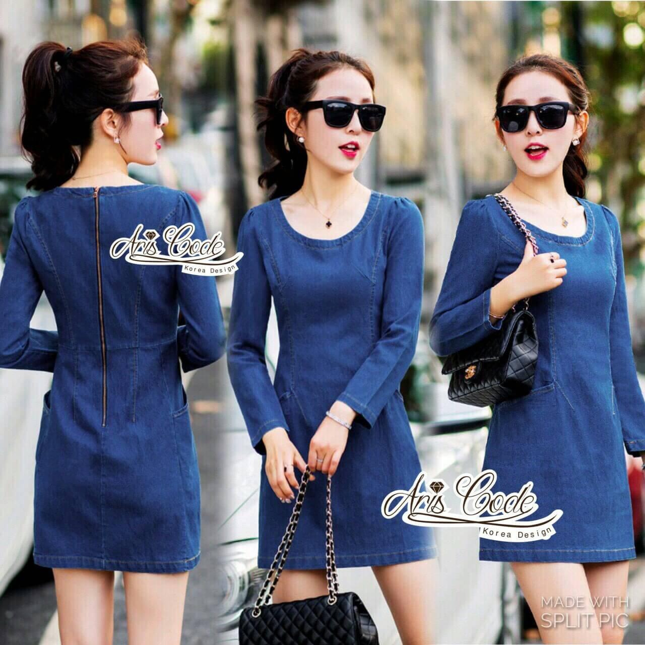 Slim thin long-sleeved dress denim skirt denim by Aris Code A243-79C05