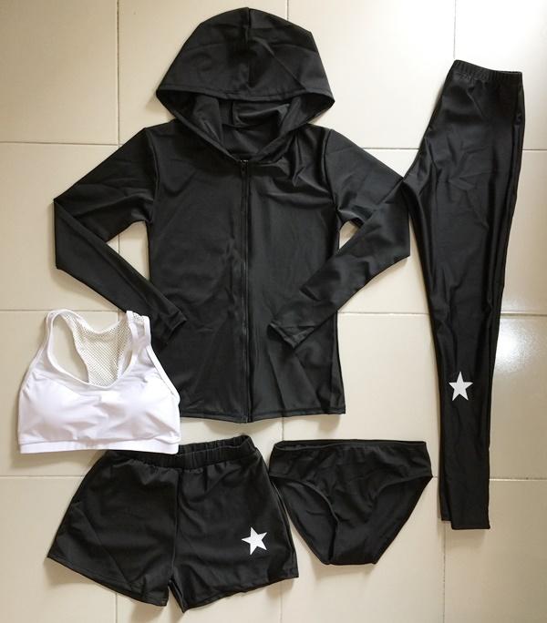 2002 ชุดว่ายน้ำขายาว-แขนยาว เซ็ต 5 ชิ้น บราขาว+บิกินี่+ขาสั้น+ขายาว+เสื้อแขนยาว