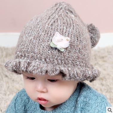 ไซส์ 0-6 เดือน หมวกเด็กเกาหลีไหมพรม สีน้ำตาล