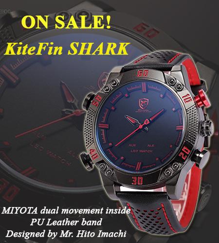 นาฬิกาSHARK Watch KiteFin (สีแดง) Digi-Analog Quartz LED 2 ระบบ สายข้อมือหนัง แสดงเวลา,วัน,วันที่