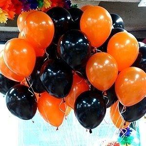 ลูกโป่งมุกโทนดำส้ม ร้านจัดสีให้ แพค 10 ใบ 60 บาท