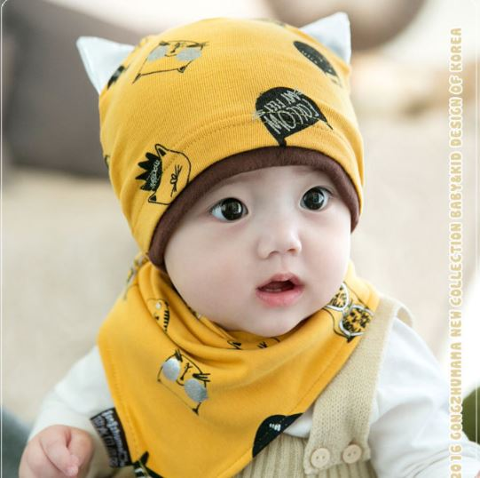 ไซส์ 6-18 เดือน หมวกลูกแมว พร้อมผ้ากันเปื้อนสามเหลี่ยม - สีเหลือง
