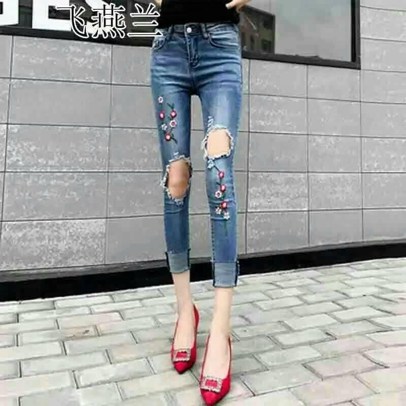 กางเกงยีนส์ผ้ายืดฮ่องกงสีฟอกสีสวยปักลายดอกไม้