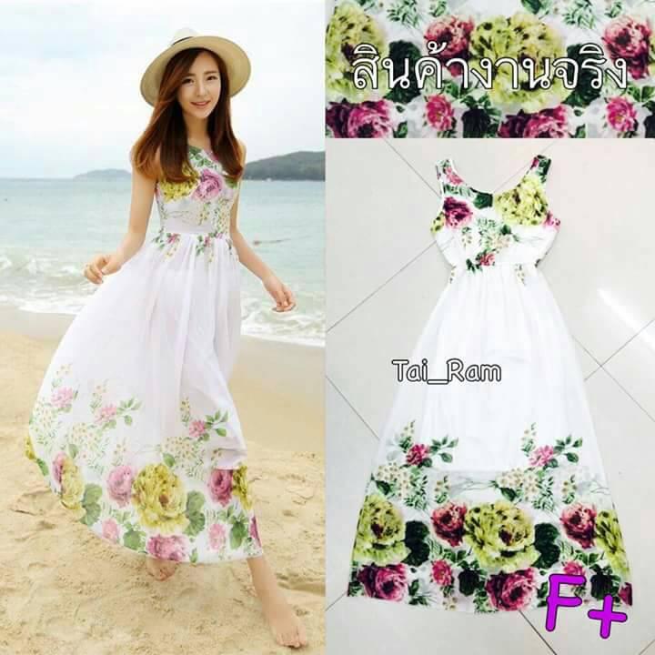 Maxi Dress เดรสดอกไม้สีสันสดใส