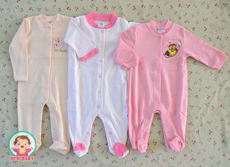 ไซส์ 0-3 เดือน ชุดหมีเด็กแบบคลุมเท้า แขนยาว แพ็ค 3 ตัว
