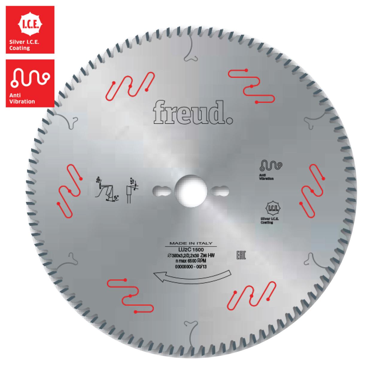 ใบเลื่อยวงเดือน 10 นิ้ว 80 ฟัน FREUD LU2C1101A (สำหรับตัดไม้เนื้อแข็ง ไม้ผสม และแผ่นอะคริลิค)