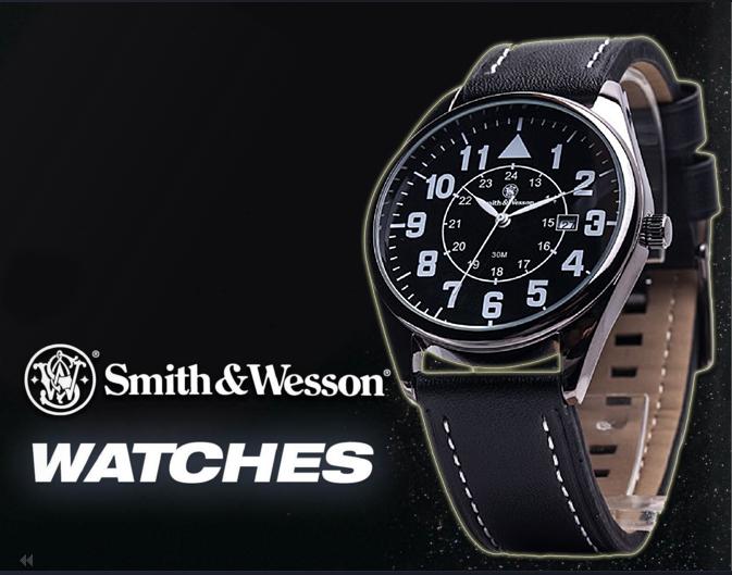 นาฬิกาทหารSmith-Wesson Watch Civilian Quartz Analog แสดงวันที่-เวลา สายข้อมือหนัง