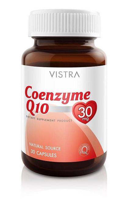 Vistra Coenzyme Q10 วิสทร้า โคเอนไซม์คิวเท็น 30 เม็ด (สูตรใหม่ Softgel Formula)