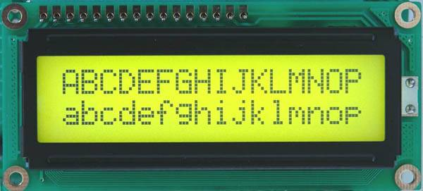 LCD 1602 16x2 Yellow Green with backlight of the