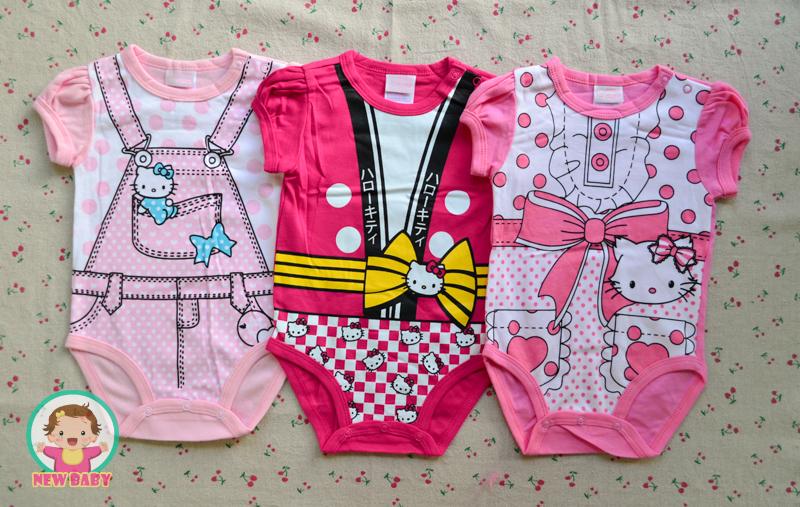 ไซส์ 0-3 3-6 6-9 เดือน บอดี้สูทเด็กลายคิดตี้เด็กผู้หญิง แพ็ค 3 ตัว