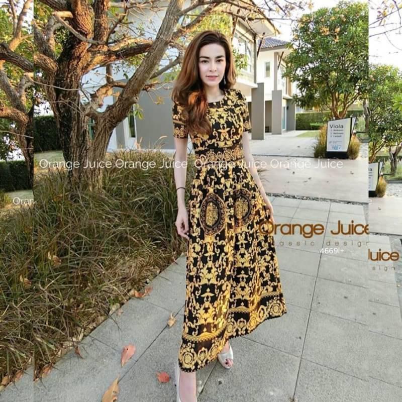 Dress เดรสยาวแขนสั้นพิมพ์ลายกราฟฟิกส์