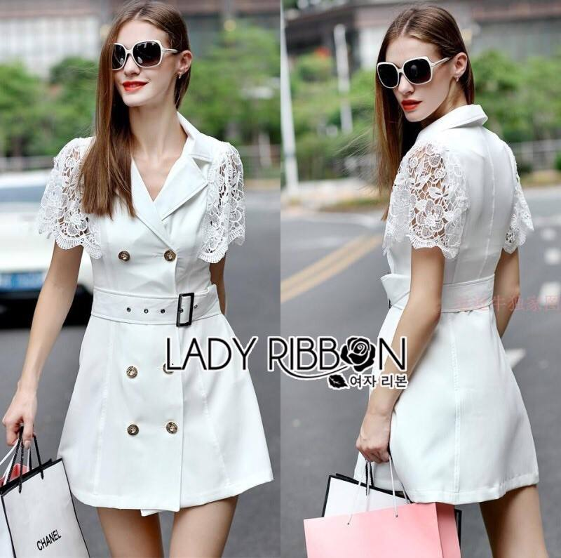 Lady Mariesa Insert Lace Double Breast Trench Coat