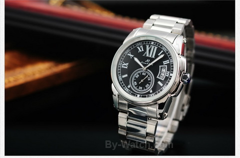 นาฬิกาข้อมือผู้ชายออโตเมติกKS Luxury Automatic Watch KS064 Imperial Silver-Black สายแสตนเลส แสดงวันที่แบบหน้าต่าง