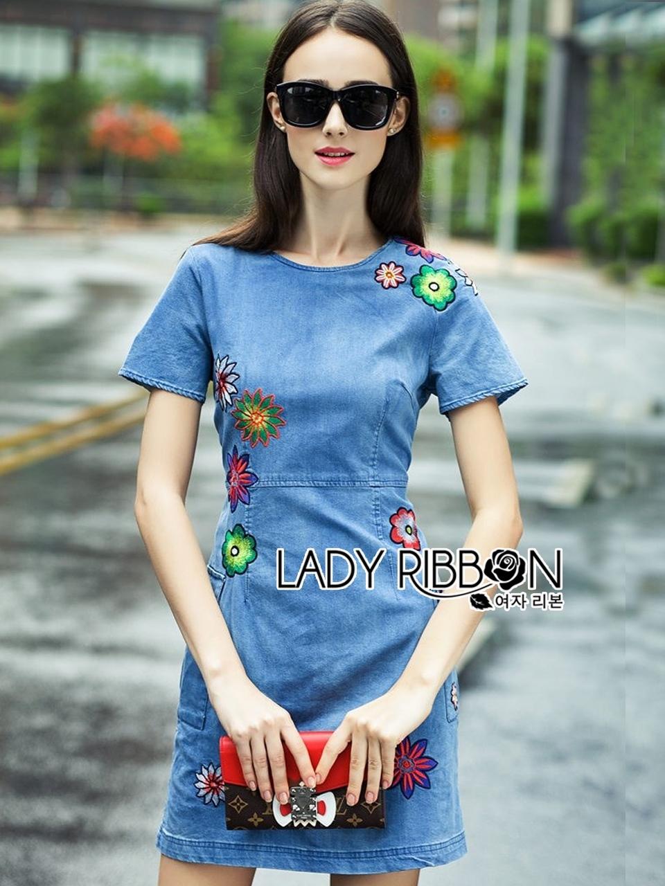 Lady Alice Vivid Flower Embroidered Denim Mini Dress L205-79C01