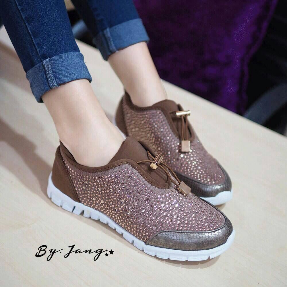 รอเท้าผ้าใบประดับคริสตัล งาน Zara Shiny Trainers