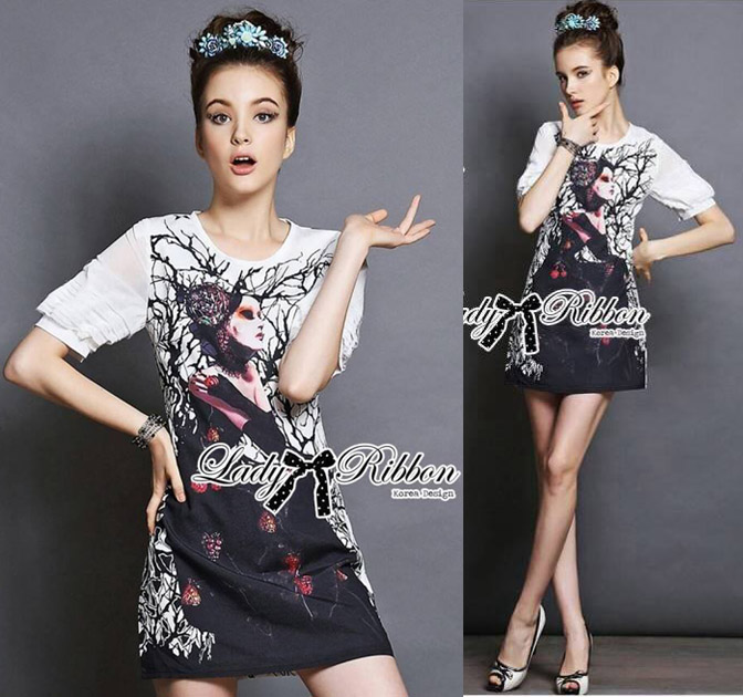 DR-LR-285 Lady Ashley Mysterious Wicked Girl Print Dress