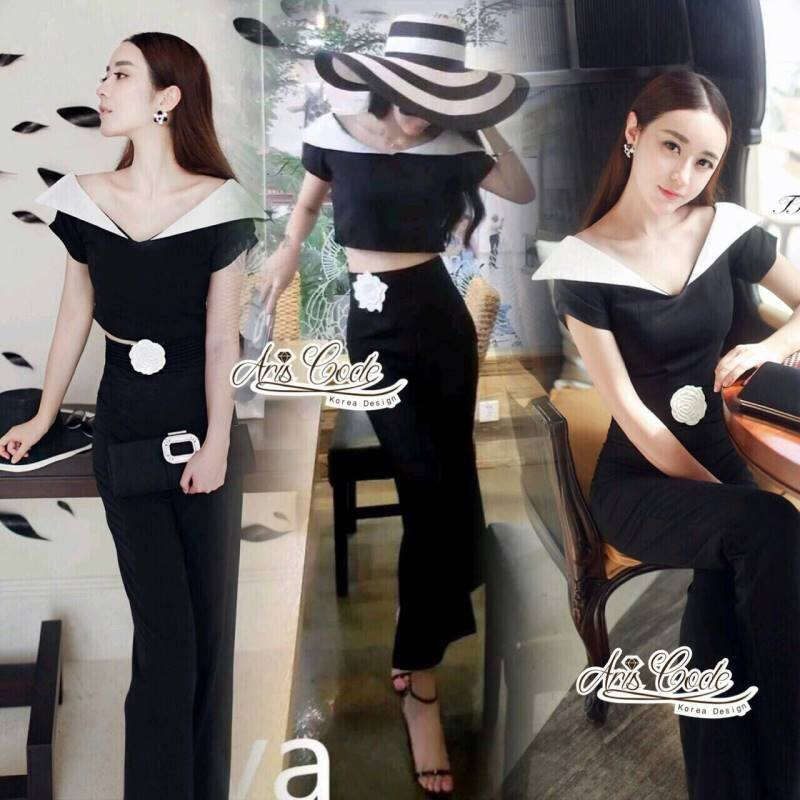 Fashion style black and white color Short strapless wide leg pants, high waist by Aris Code