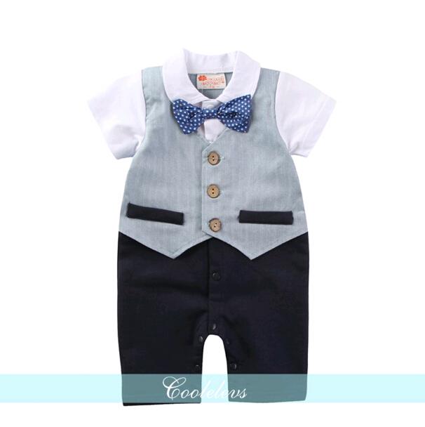 BP007 ชุดบอดี้สูทเสื้อกั๊กสีฟ้า ผูกกระต่าย ชุดออกงานเด็กชาย
