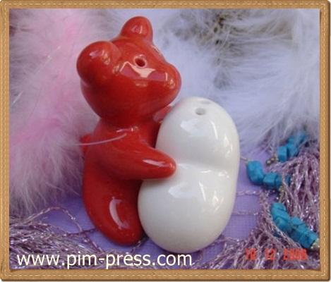 กระปุกพริกไทยเซรามิกหมี หมา แมว หมู กอดหัวใจ