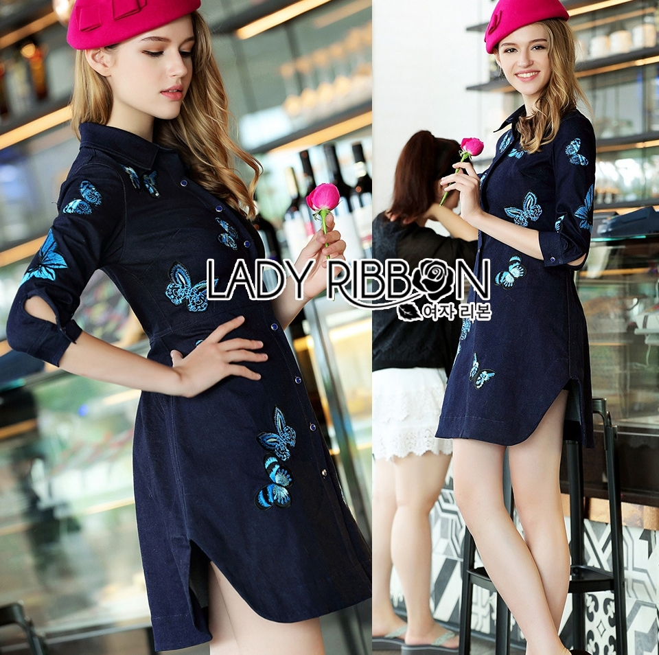 Lady Grace Sweet Feminine Butterfly Embroidered Denim Shirt Dress L215-85C07