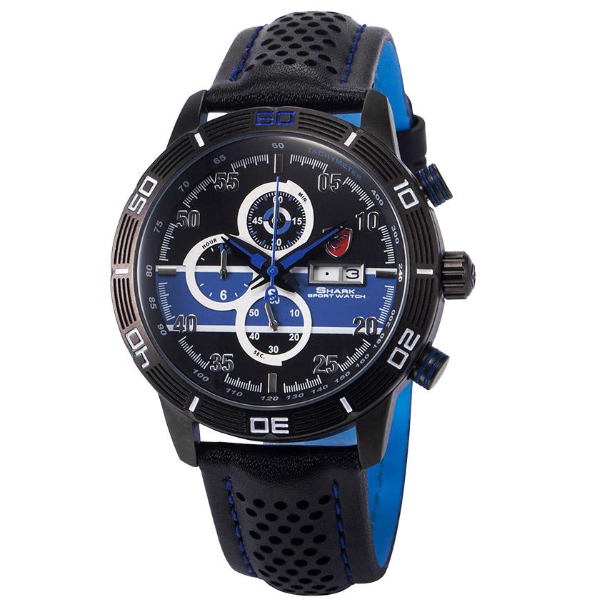 นาฬิกาข้อมือผู้ชาย SHARK Watch Striped Blue Analog วัน-วันที่-จับเวลา สายหนัง PU คุณภาพดี