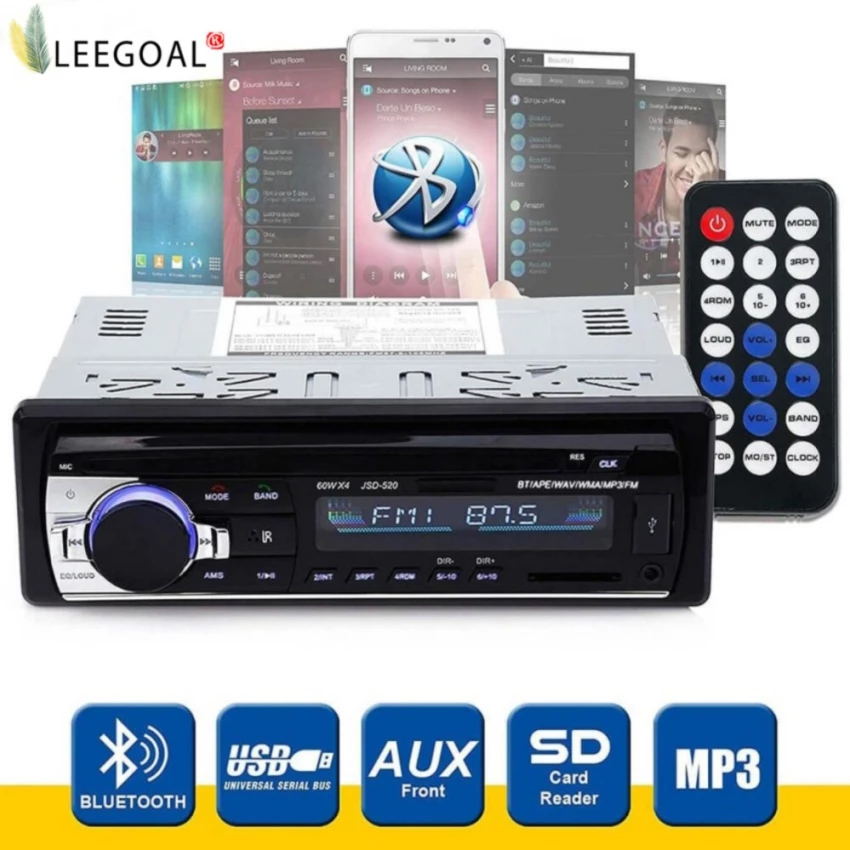 leegoal Wireless Bluetooth Car Audio Stereo In-Dash Car MP3 Player Support Aux Input TF Card USB (รหัส 2m4l0Ko)
