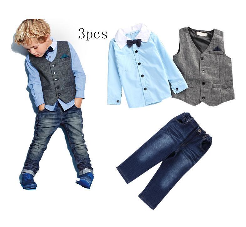 BS010 ชุดเสื้อเชิ้ตสีฟ้า กางเกงยีนส์ + เสื้อกั๊ก
