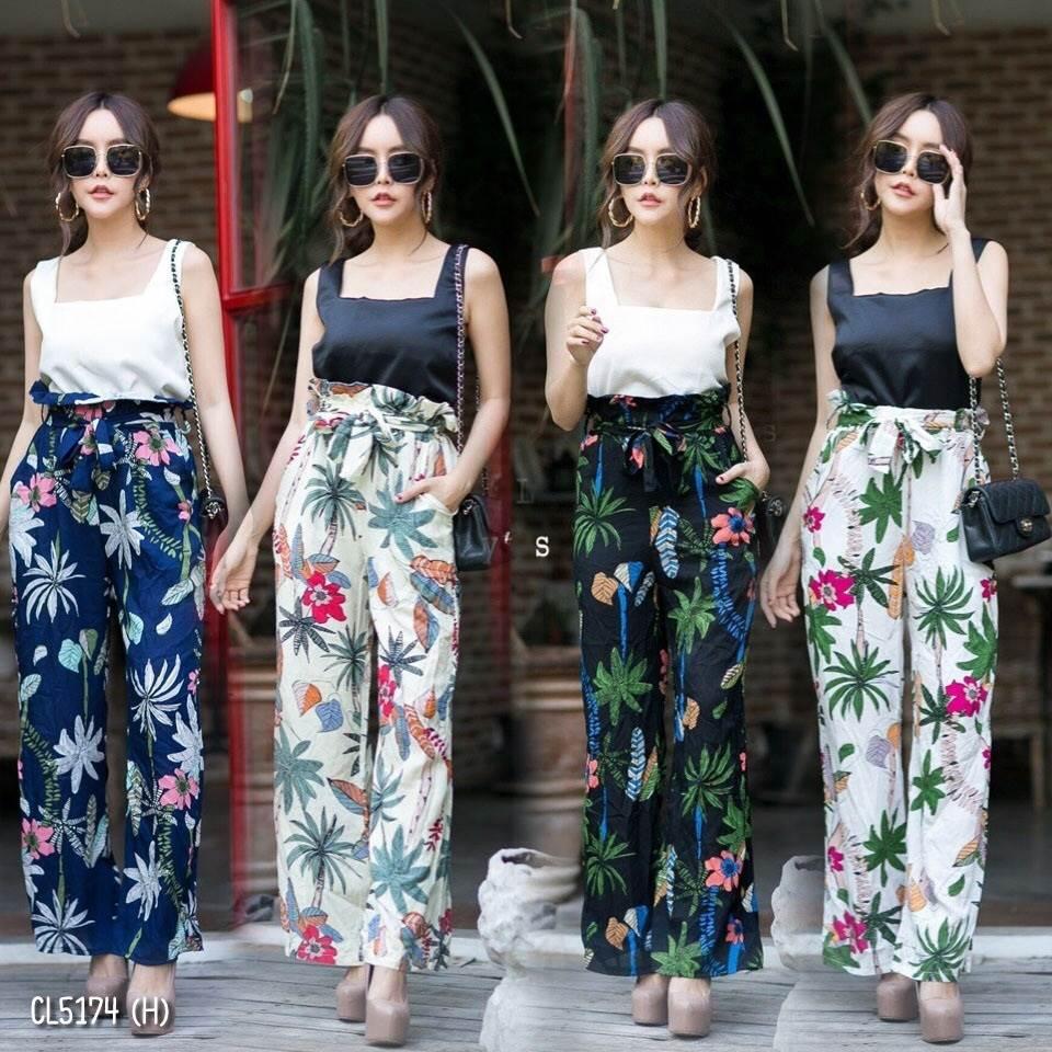 Summer flower set เสื้อสีพื้นคอเหลี่ยมผ้าเนื้อดี