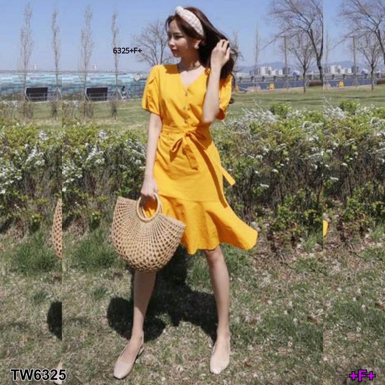 Dress #เดรสเหลือง งานแขนตุ๊กตาแต่งจีบ ติดกระดุม 3 เม็ด