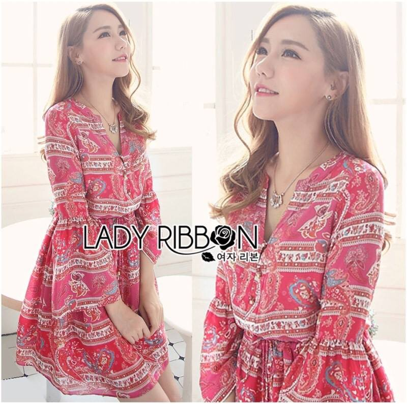 Lady Jessie Tribal Chic Colorful Paisley Printed Dress L193-75C02