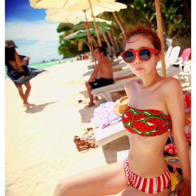 414 ชุดว่ายน้ำบิกินี่ทูพีช ลายแตงโมน่ารักๆ