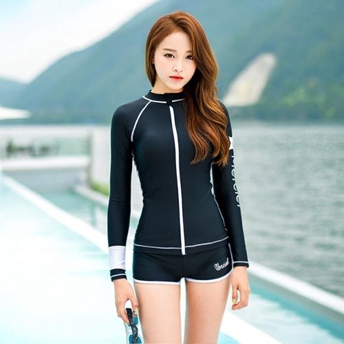 SM-V1-577 ชุดว่ายน้ำแขนยาวซิปหน้า กางเกงขาสั้น สีดำแต่งขอบขาว