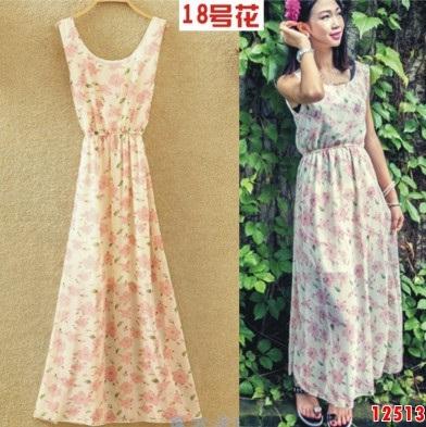 12513 แม็กซี่เดรสยาว แขนกุด สีขาว ลายดอกไม้สีชมพู