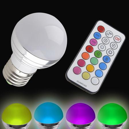 หลอดไฟเปลี่ยนสีได้ เปิดปิด ด้วยรีโมท แบบหัวขุ่่น